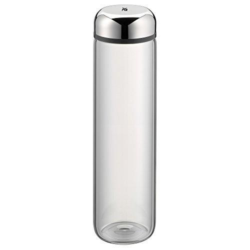 WMF Basic Trinkflasche, 750 ml, Höhe 26 cm, Glasflasche für Warm- und Kaltgetränke, Glas, Cromargan Edelstahl, in Geschenkkarton, grau