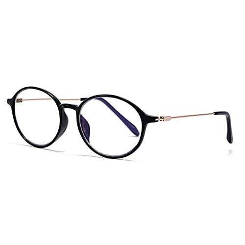 HAOXUAN Gafas de Lectura, Gafas de Ordenador multifocales progresivas/Anti-luz Azul para Hombres y Mujeres, Retro de fotograma Completo, dioptrías de +1,00 a +3,00,Negro,+1.00