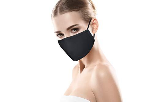 MBW Mund- & Nasenmaske in schwarz Schutzmaske Mundschutz Maske 3-lagig Wiederverwendbare Masken 100% Baumwolle