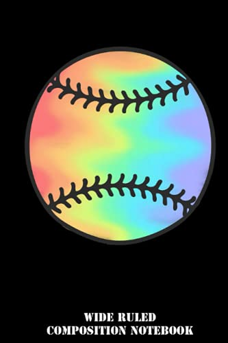 Tie dye softball Wide Ruled Composition Notebook: Baseball Back to School Supplies for Boys and Girls, Students and Teachers | Special Black Cover | 6x9 In 120 Pages
