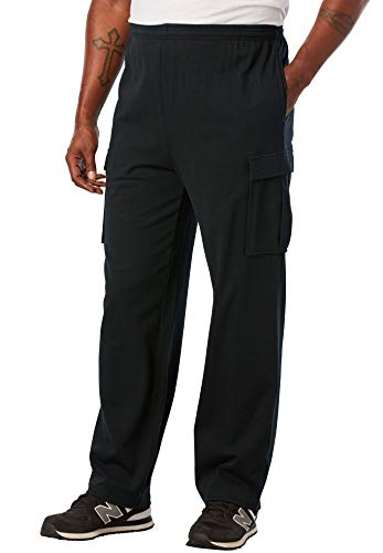 KingSize Men's Big & Tall Lightweight Cargo Sweatpants - Big - 5XL, Black
