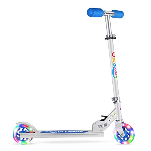 BELEEV V1 Scooters for Kids 2 Wheel Folding Kick Scooter for Girls Boys, CSPC&ASTM Safety Certified, 3 Adjustable Height, PU LED Light Up Wheels for Children 4 Years and up (Blue)