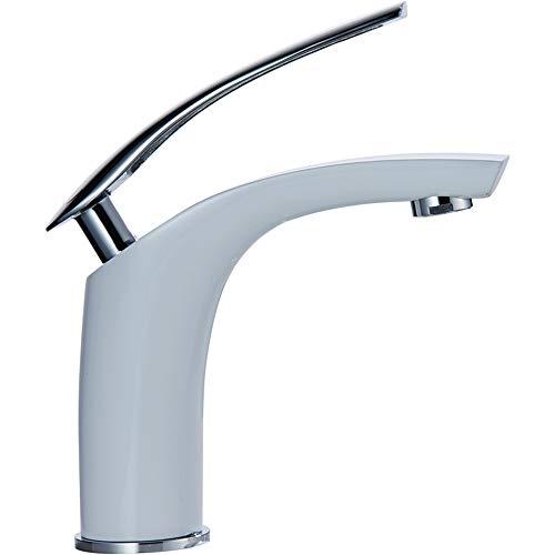 Elegante color blanco–Grifo monomando grifo monomando para grifo lavabo monomando baño grifo lavabo baño grifo de latón blanco lacado con vara., Blanco