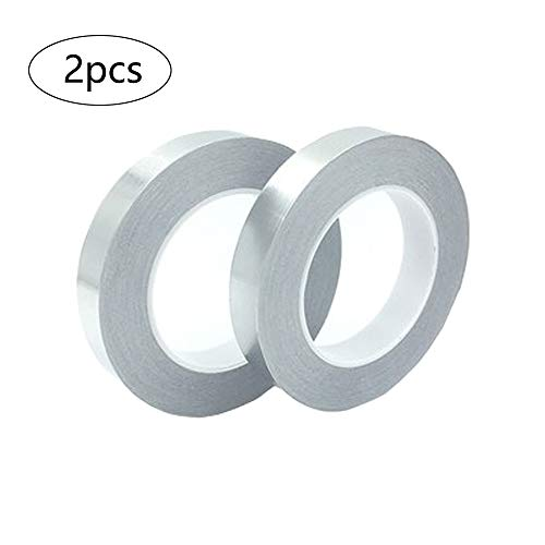 2 Rollen Aluminiumband, Aluminium Klebeband Rolle Isolierband Abdichtband Selbstklebend, Doppelseitig leitfähigem Klebstoff Aluminiumfolienband, für Elektrische Reparaturen, Löten, EMI-Abschirmung