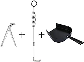 OLAMO Big Green Egg Accessories Ash Tools Set for Big Green Egg,Kamado Grill Cleaning Tools Ash Tool Poker,Include Ash Rake and Ash Pan and Grill Grate Lifter