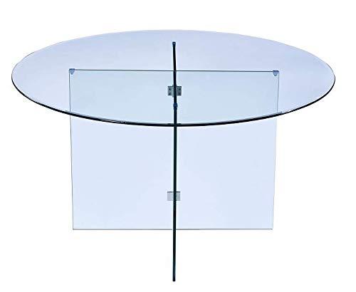 Tavolo Rotondo Da Salotto Sala Da Pranzo Studio Soggiorno Ingresso Tavolo In Vetro Curvato Temperato Design Elegante E Moderno- Luxury Z-96-137 x 72 x 137 Cm Trasparente
