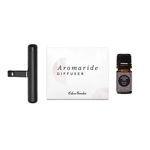 Edens Garden Aromaride Car Diffuser & French Lavendar Sage Synergy Blend Essential Oil Kit, Best Travel Clip-On Diffuser (Best for Car Air Vent - Great For Relaxation & Stress) Includes 4 Wicks, 5 ml