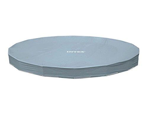 Intex Bâche de Piscine Deluxe pour Piscine avec Cadre, surplombement de 20 cm, Gris, diamètre 488 cm