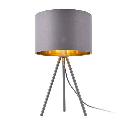 lux.pro Tischleuchte 'Metz' E14 Max. 40W Tripod Tischlampe Stoffschirm und Metallfüße Nachttischlampe Grau-Gold