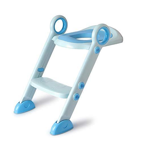 Jiamuxiangsi- Ladder Chair Kind WC Mädchen Kleiner WC-Sitz faltbar einstellbar Rutschfeste Junge Baby-WC Leiter Schritt Töpfchen WC-Sitz (Farbe : Blau, Ausgabe : B)