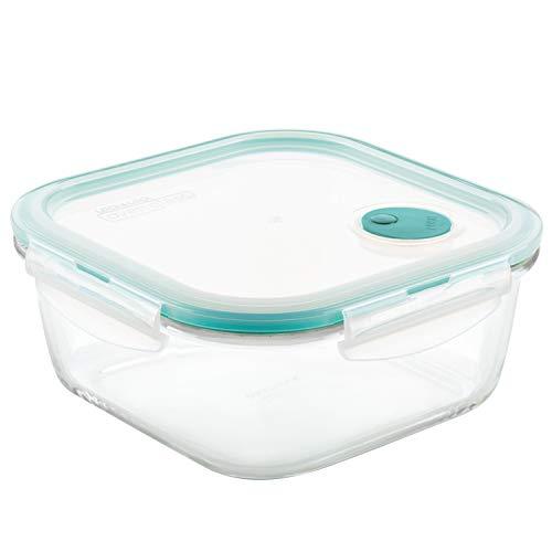 LOCK & LOCK LLG234T Ovenglass - Recipiente cuadrado de vidrio resistente al calor con ventilación de vapor de 5,92 tazas, transparente