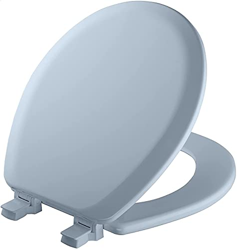 841EC 034 Cameron Toilet Seat will Never Loosen and Easily Remove, ROUND, Durable Enameled Wood, ROUND, Sky Blue Improved Version (Sky Blue)