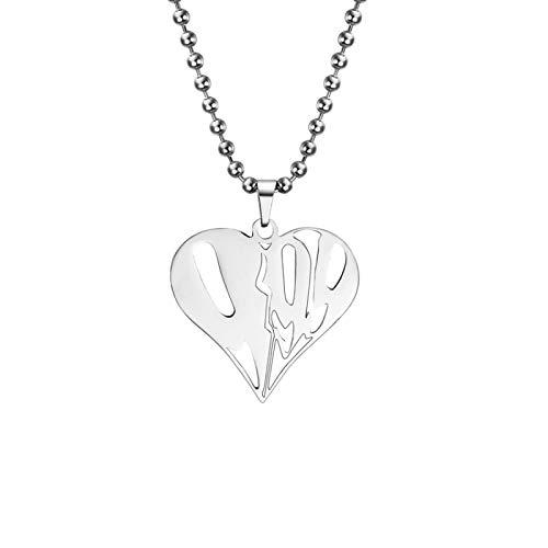 ZYLL 2020 Mode Herz Anhänger Rapper Saft Wrld Halskette Perlenkette Edelstahl 999 Wrld Halsketten Geschenk für Männer Fans Schmuck