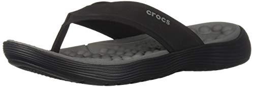 Crocs Men's Reviva Flip Flop, Black/Slate Grey, 9 M US