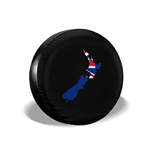 Beth-D Reserveband Covers Vlag-Kaart Van Nieuw-Zeeland Stof-Proof Waterdichte Zonwering Wiel Cover Fit Voor Rv, Suv, Trailer En Veel Voertuig 14-17inch