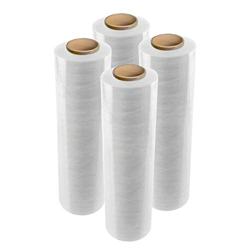 """enKo 18"""" Stretch Wrap 80 Gauge 1000 feet - Industrial Strength Pallet Wrap Stretch Film for Moving, Shipping, Packaging - Durable Self-Adhering Cling Wrap Heavy Duty Shrink Wrap Roll (4 Pack, Clear)"""