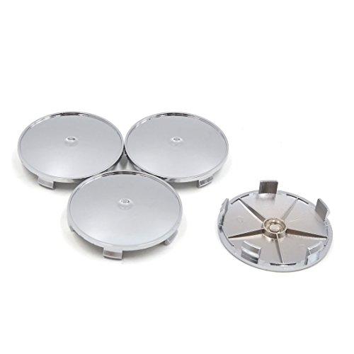 sourcingmap 4pcs Chrome Ton Argent 68mm Diamètre 5 Lugs Centre Roue Cache moyeu PAC pour Voiture
