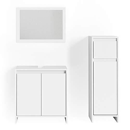 Vicco Badmöbel Set Emma Weiß Spiegel Unterschrank Hochschrank Midischrank Badschrank (Waschtischunterschrank + Spiegel + Midischrank)