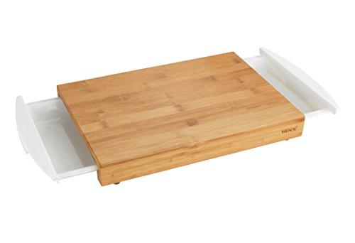 WENKO 53035100 Schneidebrett Bina, Küchenbrett, Schneidebrett mit 2 ausziehbaren Auffangschalen/Tabletts, Bambus, 40.5 x 4 x 25 cm, Braun