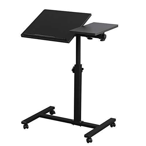 Rolling Laptop Table Lap Desk for Laptop Rolling Cart Tilting Overbed Bedside Table Overbed Desk Overbed Table with Wheels Adjustable Laptop Stand Sofa Side Table (Black)