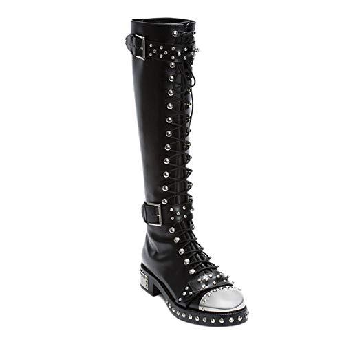 YZT QUEEN Damen Stiefel overknees, Lässige Mode Leder schnüren hochelastische Overknee Stiefel, Einzigartige Bedruckte Kniestiefel mit Nieten,Schwarz,38 EU / 5 UK