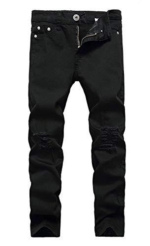 Boy's Ripped Skinny Distressed Destroyed Slim Fit Jeans Denim Pants Black Size 8