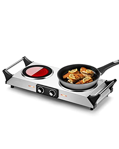 Arlime Hot Plate Electric Double Burner, 1800W Countertop Electric Burners for Cooking Portable with Handles, Electric Hot Plates for Kitchen Camping RV, Silver