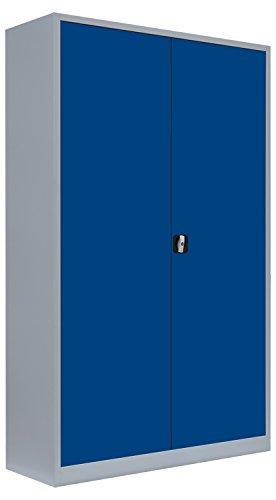 Flügeltürenschrank kompl.montiert und verschweißt Schrank Stahl Stahlblech Lagerschrank Aktenschrank 4 Fachböden 530381 Lichtgrau/Enzianblau 1950 x 1200 x 600 mm