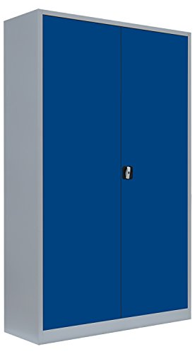 Flügeltürenschrank Schrank Stahl Stahlblech Lagerschrank Aktenschrank 4 Fachböden 530381 Lichtgrau/Enzianblau 1950 x 1200 x 600 mm, kompl.montiert und verschweißt
