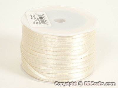 BBCrafts Ivory Satin Ribbon 1/16 inch 100 Yards