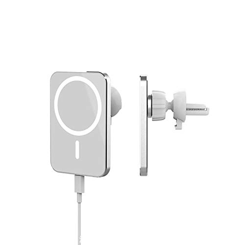 SgoSeye Cargador Inalámbrico para Coche, Adecuado para la Serie iPhone 12, Otros Modelos de Teléfonos se Pueden usarcon Estuches Magnéticos para Teléfonos (Blanco)