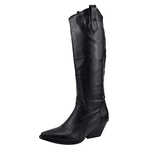 LANSKIRT Mujer Botas de Tacón Alto hasta La Rodilla Botines de Moda Botas Media Caña Altas para Mujer Zapatillas 35 EU - 43 EU
