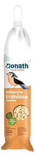 Donath Energie-Spender Erdnüsse - 500g - im praktischen Spender zum Aufhängen - reich an natürlichem Fett - wertvolles Ganzjahres Wildvogelfutter - aus unserer Manufaktur in Süddeutschland