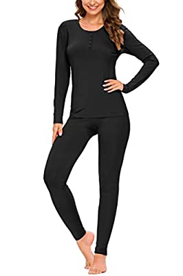YOZLY Lightweight Thermal Underwear Womens Base Layer Set Henley Long Johns (Black,M)