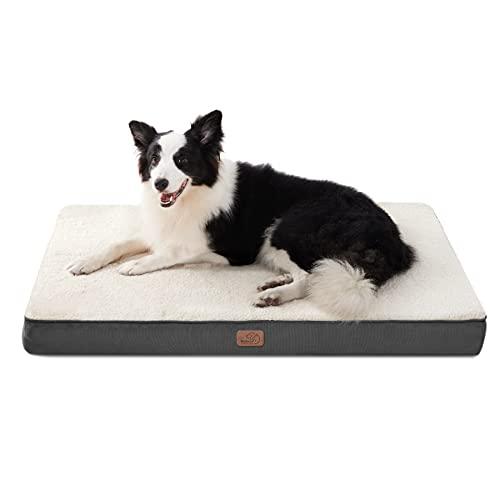 Bedsure Cuscino per Cane Gande - Materassino per Cani Taglia Grande Interno Cuscino Cane Sfoderabile Lavabile 91x69x7,6 cm Bianco