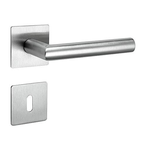 Drückergarnitur New Orleans Q | 3 mm Magnet-Flachrosette | festdrehbare Lagerung | V2A Edelstahl matt | BB (Buntbart)