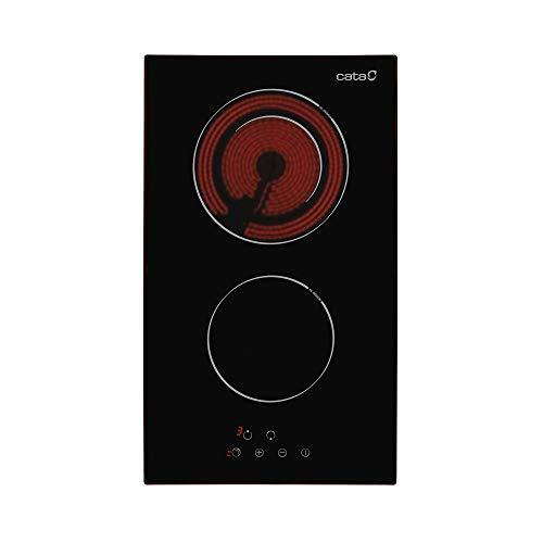Cata Placa con 2 Zonas De Cocción - Modelo TD 30230 cm de Ancho ,9 Niveles de Potencia Regulables,Control táctil, 1200 W, Vidrio y cerámica, Negro
