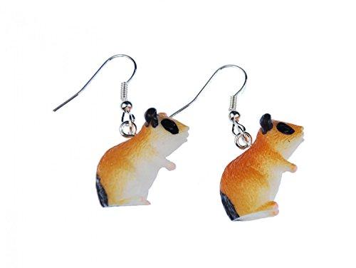 Miniblings Hamster Ohrringe Hänger Haustier gefleckt Teddyhamster Goldhamster - Handmade Modeschmuck I Ohrhänger Ohrschmuck vergoldet