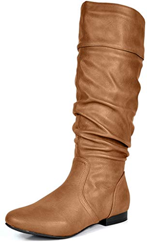 DREAM PAIRS Women's BLVD Camel Knee High Pull On Fall Weather Boots Wide Calf Size 8 M US