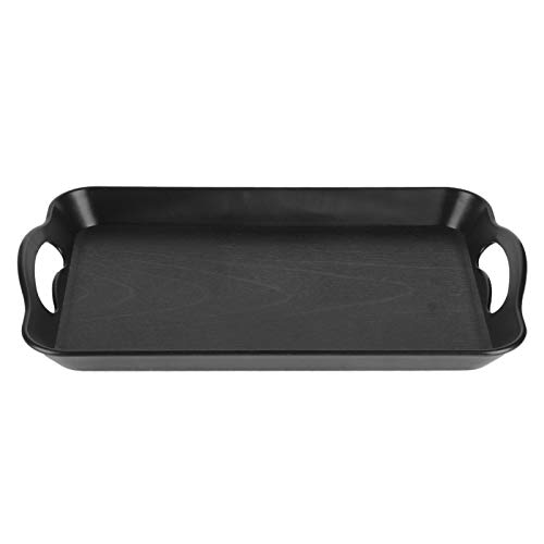 Bandeja de Servicio de Alimentos de Grano de Madera Bandeja de plástico acrílico Rectangular Antideslizante para Comida(610 Handle Black)