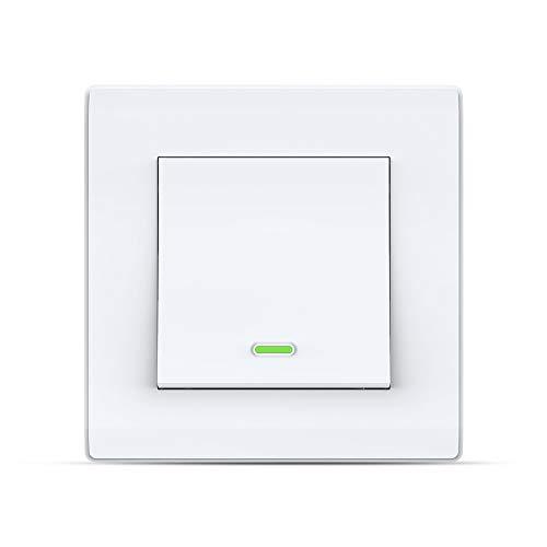 Smart Switch Alexa Smart Lichtschalter, Wi-Fi Smart-Wandschalter mit Fernbedienung und Timer, Alexa Echo-Schalter, kompatibel mit Alexa Echo, Google Home, kein Hub erforderlich (1 Gang)