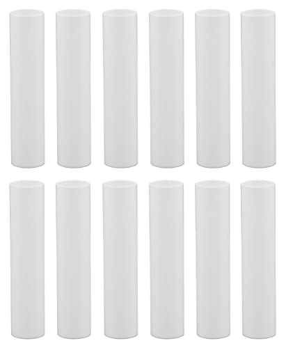 Creative Hobbies 1751 - Set of 12, 4 Inch Tall White Plastic Candle Covers Sleeves Chandelier Socket Covers ~Candelabra Base