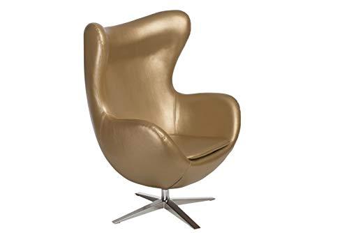ElleDesign - Sillón reclinable de piel sintética, color dorado
