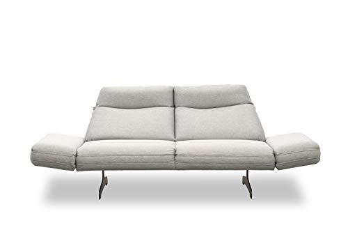 DOMO. collection Arezzo 2,5-Sitzer Couch Rückenfunktion, Designer Garnitur Relaxfunktion 2er Polster, grau, 239x99x94