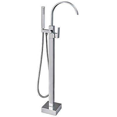 Aolemi Polish Chrome Bathtub Faucet Floor Mount Freestanding Tub Filler Bathroom Waterfall Brass Tap Swivel Spout Single Handle with Hand Sprayer