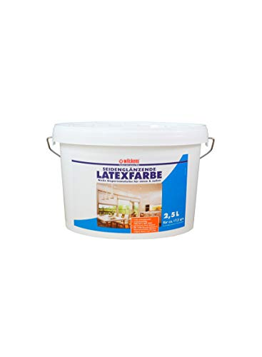 Latexfarbe weiß seidenglänzend 2,5 L ca. 15 m² Putz Beton Faserzement Innenfarbe Farbe glänzend Wilckens