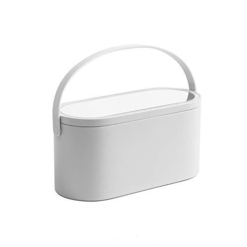 Led Cosmetische Spiegel, Geïntegreerde Draagbare Opbergdoos Opvouwbare Desktop Travel Light,White