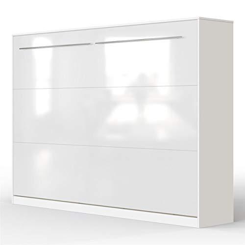 SMARTBett Standard 140x200 Horizontal Weiss/Weiss Hochglanzfront Schrankbett | ausklappbares Wandbett, ideal geeignet als Wandklappbett fürs Gästezimmer, Büro, Wohnzimmer, Schlafzimmer