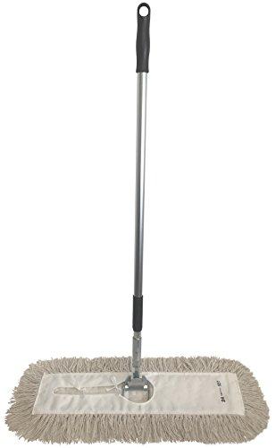 Dust Mop Kit 18' : (1) 18' White Industrial Closed-Loop Dust Mop, (1) 18' Wire Dust Mop Frame & (1) Dust Mop Handle Clip-On Style (With Aluminum Ergonomic Extension Handle)