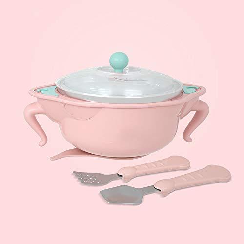 Vajilla para niños, tazón de aislamiento para bebés lleno de agua, lechón para bebés, tazón de comida complementario, cuchara, acero inoxidable, anticaída